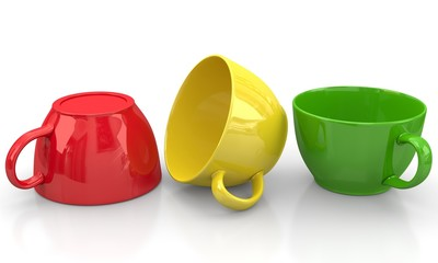 Tasse in rot gelb grün
