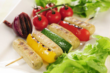 Grilled Tofu sausages and vegetables