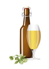 Bierflasche und Bierglas