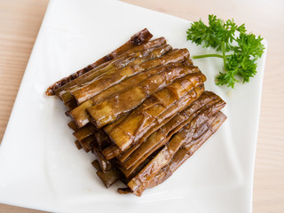 Stir-fried bamboo shoots with sauce, chinese food