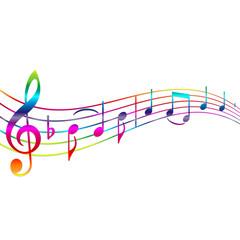 Musiknoten Regenbogen mit Textfreiraum