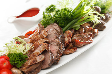 grilled meat with sauce
