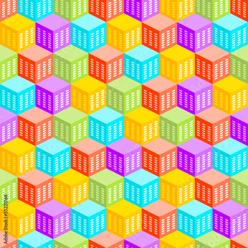 Abstract Cubic City Seamless Pattern