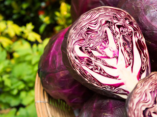 Whole And Cut In Half Red Cabbage