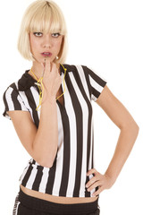 woman ref blow whistle serious
