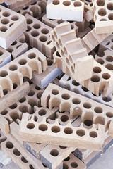 Bricks piled