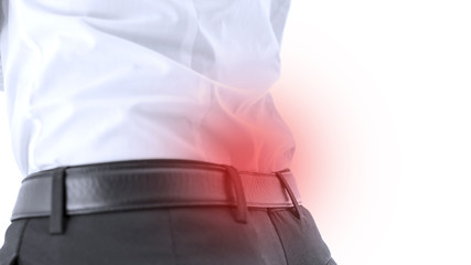 Closeup of lower back pain