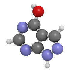 Allopurinol gout drug, chemical structure.