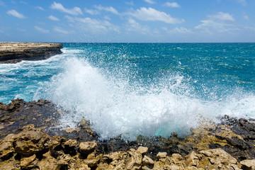 Waves Crashing on Rocky Coastline Devil's Bridge