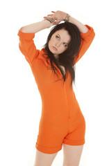 Woman orange prison handcuffs over head