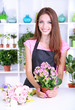 Beautiful girl florist with flowers in flowers shop
