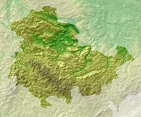 Topografische Reliefkarte Thüringen