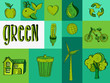 Hand drawn green resources icons.