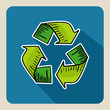 Hand drawn green recycle symbol.
