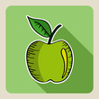 Sketch style green apple.