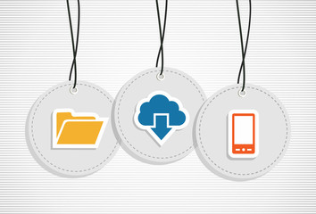 Hanging cloud computing badges set