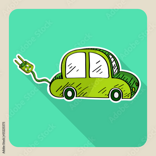 Sketch style green electric car.