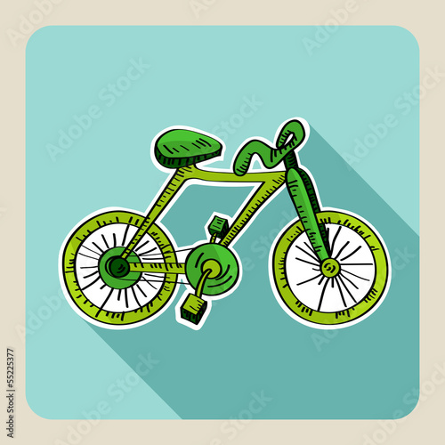 Hand drawn green bike.