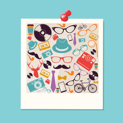 Colorful retro hipsters icons photo.