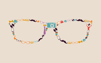 Vintage hipsters icons glasses.