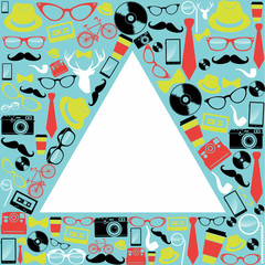 Vintage hipsters icons triangle.