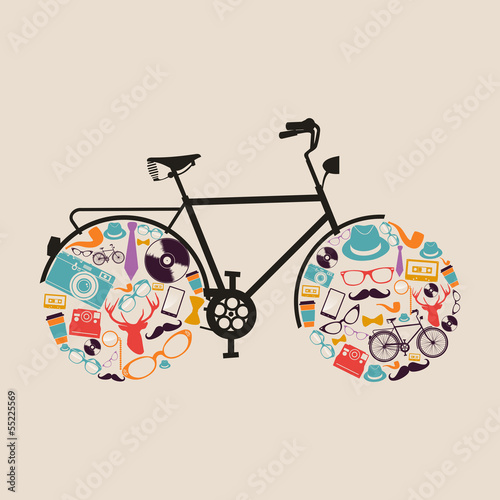 Vintage hipsters icons bike. © cienpiesnf