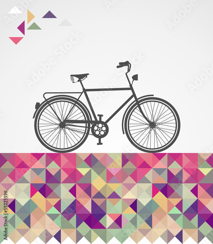 Retro hipsters bicycle geometric elements. © cienpiesnf