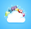Cloud storage glossy app icons.