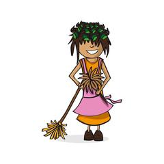 Profession housewife woman cartoon figure.