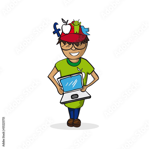 Profession social media manager man cartoon figure.