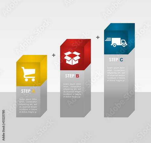 E commerce info graphics steps.