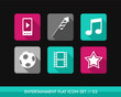 Entertainment flat icons set.