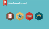 Entertainment flat icons set. poster