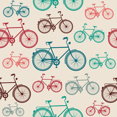 Vintage bike elements seamless pattern.