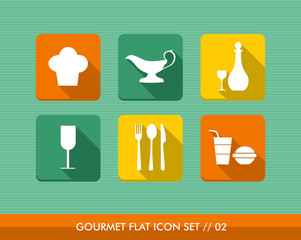 Gourmet flat icons set.