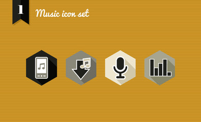 Music flat icons set.