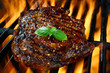 Rib Eye Steak on a Flaming Hot Grill