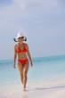beautiful girl on beach have fun
