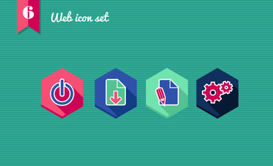 Web apps geometric flat icons set.