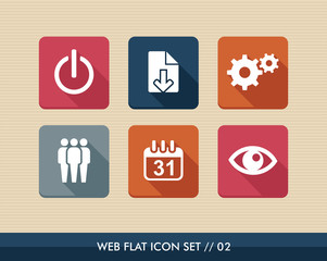 Web apps square flat icons set.