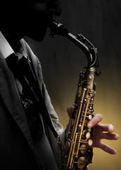 Saxophone in shadow