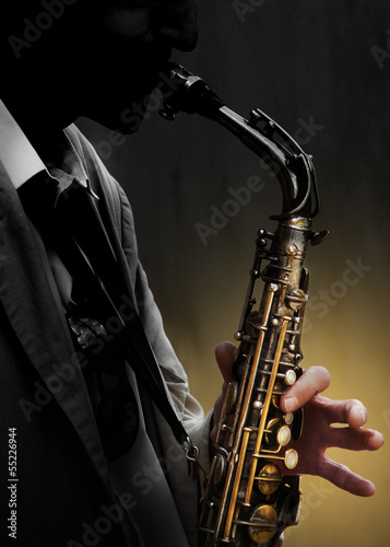 Saxophone in shadow