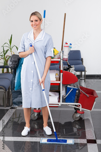 Young Maid Cleaning The Floor