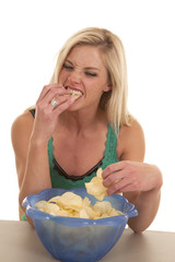 Woman eat chips from bowl