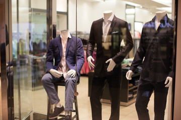 Stock image of male mannequins at the mall