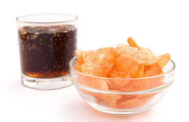 potato chips and cola with clipping path