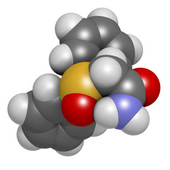 Modafinil wakefulness promoting drug, chemical structure.