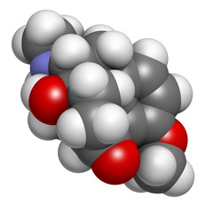 Oxycodone pain relief drug, chemical structure.