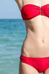 Girl With Great Slim Body On Beach