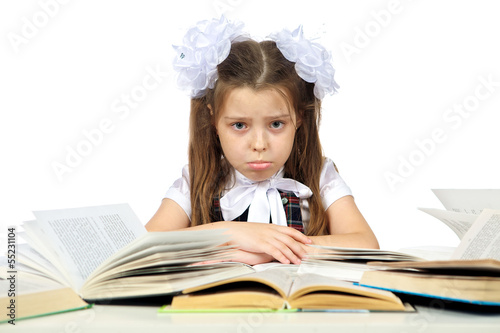 a girl and books